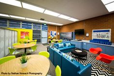 This is a school lounge that would help create a warmer atmosphere in the school. It would be a lot more welcoming than other areas of the school and could encourage kids to hang out at school