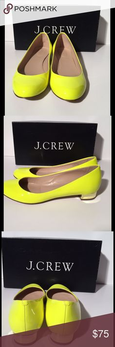 ❤JCrew Janey Patent Flat with Gold Heel❤ I love these round toe flats with about a 3/4 inch heel. I love the neon citrine yellow.  If you want a pop of color for an outfit- this is it.  Like new condition. Worn once. You closet will love you for bringing Janey home💕💕💕 J. Crew Shoes Flats & Loafers