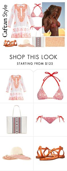 """""""Caftan Style"""" by katiethomas-2 ❤ liked on Polyvore featuring Juliet Dunn, Ultimate, Biondi, Tory Burch, Eugenia Kim, Frye and HUGO"""