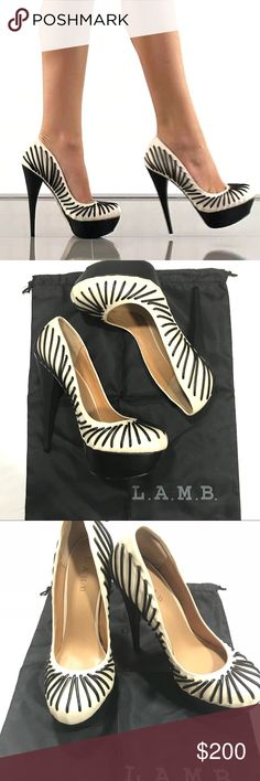 """L.A.M.B. """"Holiday"""" Pumps Celebrate the sexiness this L.A.M.B. pump will deliver. The Holiday features a supple white leather upper accompanied by black top stitching. A tall 6 inch heel and 1 1/4 inch platform completes this head turning look. Colored in cream and black.  Comes with original box & dust bag.   Shoe Details:  Leather Upper Leather Sole Made In China This shoe fits true to size. L.A.M.B. Shoes"""