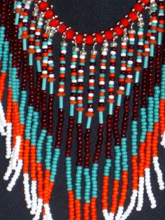 Native American beaded necklace in by MontanaTreasuresbyMJ on Etsy