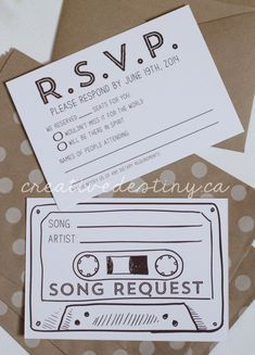 wedding invitation inspiration | cute RSVP | wedding song request | v/ elle |