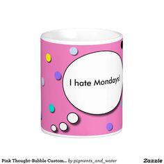 Pink Thought-Bubble Customisable Dots Novelty Mug