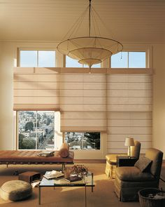 This soft gold decor makes this living room gently glow with a comfortable happiness. ♦ Hunter Douglas window treatments - Alustra® Woven Textures® Roman Shades