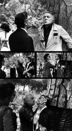Federico Fellini directs Marcello Mastroianni & Bernice Stegers on the set of City of Women (1979).