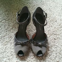 Grey Antonio Melani ankle strap heels Peep toe, pre loved. ANTONIO MELANI Shoes Heels