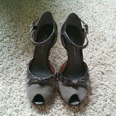 Grey Antonio Melani ankle strap heels Peep toe, pre loved. ANTONIO MELANI Shoes Heels