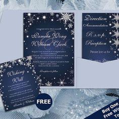 DIY Printable Wedding Pocket Fold Invitation Set A7 5 x 7   Editable MS Word file   Winter White Snowflakes Royal Navy Blue Sparkles