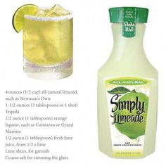 i'm thirsty Simply Limeade Margarita Mezcal Cocktails, Beste Cocktails, Cocktail Drinks, Cocktail Recipes, Sangria, Party Drinks, Fun Drinks, Beverages, Easy Tequila Drinks