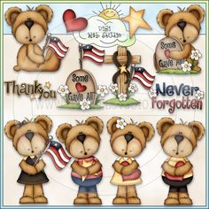 In Loving Memory Bears 1 - NE Trina Clark Clip Art - Click Image to Close