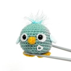 Crochet Amigurumi mochi toy doll - Teal blue bird by MochiQtie, $15.00