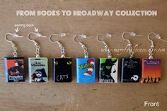 BOOKS to BROADWAY Earring Pair Phantom of the Opera Les Miserables Cats Seussical Wicked Ragtime Pygmalion.