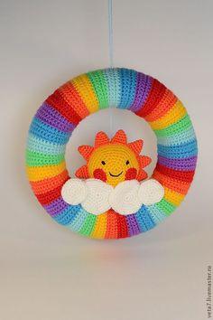 Купить Солнечная радуга. Интерьерный венок на дверь в детскую. - венок, веночек, венок на дверь, подвеска