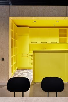 """Small and simple office building which fits seamlessly into the surrounding area, built within a limited construction budget. Laconic but sophisticated inner structure contains spatial intrigues, diverse use options and different atmospheres — semi-open office space accommodates few office rooms — """"boxes"""" along with spaces in-between them, usable for other supporting purposes — meeting rooms, a silence room, resting space, a play room, a kitchen and a dining room with a terrace. Open Space Office, Office Interiors, Kitchen Interior, Playroom, Dining Room, Meeting Rooms, Terrace, Boxes, Budget"""