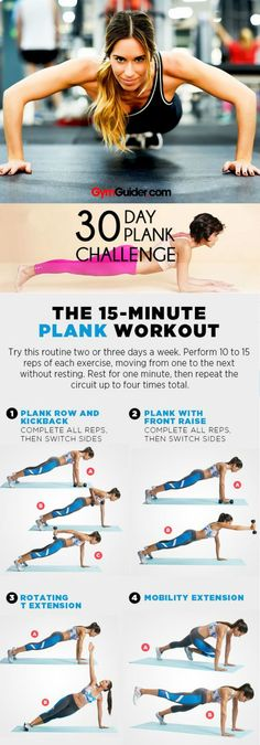 Things that feel like forever: Waiting for the hottie you met last weekend to message you back; boiling pasta; holding a plank.But even though it may not be super exciting, this simple bodyweight move is really effective�not to mention, one of the best wa Gym Workout Chart, Plank Workout, Gym Workouts, 30 Day Plank Challenge, Fat Burning Workout, Injury Prevention, Body Weight, Weight Loss, Fitness Motivation