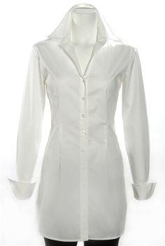 Button Down Tunic Sapphire White