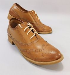 Dirty Laundry Brown Leather Wingtip Oxford Preppy Shoes Women's Size 8.5 #DirtyLaundry #Oxfords #Casual
