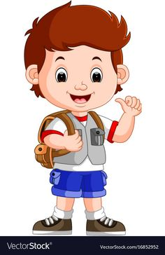 Cute boy on his way to school Royalty Free Vector Image Cartoon Pics, Cute Cartoon, Cartoon Characters, Art Drawings For Kids, Drawing For Kids, Easy Drawings, Cute Little Boys, Cute Boys, Kid Character