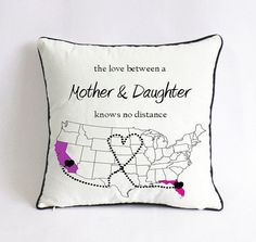 long distance mom daughter pillowcase made by cotton poly blended canvas with sublimation, USA map could be customized to any other countries map;
