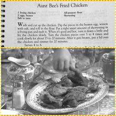 Aunt Bee's Fried Chicken Retro Recipes, Old Recipes, Vintage Recipes, Cooking Recipes, 1950s Recipes, B Recipe, Homemade Guacamole, Vintage Cooking, Famous Recipe