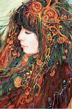 """Mother and Child (zoom)"" par Helena Nelson-Reed Goddess Art, Art Graphique, Visionary Art, Heart Art, Whimsical Art, Native American Art, Painting Inspiration, Female Art, Art Images"