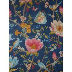 Pip Studio Vlies-Tapete 341003 Floral Vögel blau Vintage