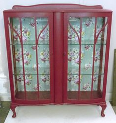 Pink Upcycled Display Cabinet with fabric back by BestDresser, buy for at the sally Army. Decoupage Furniture, Repurposed Furniture, Shabby Chic Furniture, Furniture Making, Vintage Furniture, Painted Furniture, Diy Furniture, Country Cupboard, Kitchen Dresser
