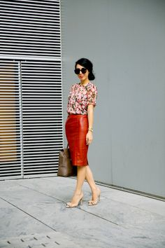 fall outfit: floral and leather pencil skirt