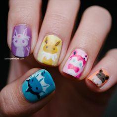 Pokemon: Eevee Evolutions | Petite Peinture #nail #nails #nailart #naildesign #pokemon #julep #chinaglaze #revlon #cute