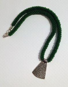 Dark Green Beaded Kumihimo Necklace with by JewelleryByJanine, £20.00