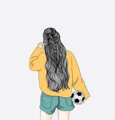 A woman holding a football is going vector Cartoon Girl Images, Cartoon Girl Drawing, Girl Cartoon, Cartoon Art, Wattpad Book Covers, Monster Characters, Anime Scenery, Cute Anime Couples, Art Girl