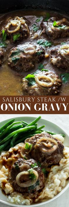 Seasoned flavorful beef patties cooked in a caramelized rich onion gravy. So delicious! This classic American salisbury steak with onion gravy comes together quickly & easily. Serve with mashed potatoes and string beans. An ultimate and warming comfort food! #comfortfood #beefrecipes #hamburgerrecipes