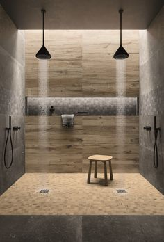 Timber and stone in porcelain. Outdoor Bathrooms, Urban Nature, Steam Showers, Tiles, Bathtub, Rustic, Inspiration, Modern Houses, Porcelain