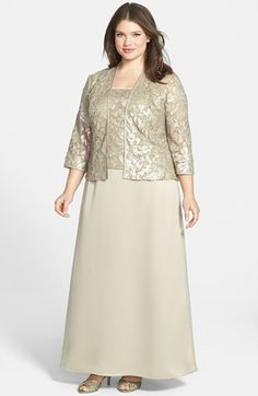 Plus Size Mother of the Bride Groom Elegant Formal Gown Church