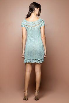 Vestido Crochet Mithos Acqua - Vanessa Montoro - vanessamontoro