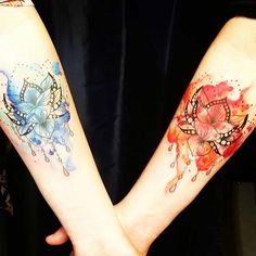 Bold, Matching Watercolor Tattoos for Sisters or BFFs Bff Tattoos, Soul Sister Tattoos, Unique Sister Tattoos, Twin Tattoos, Bestie Tattoo, Sister Tattoo Designs, Matching Sister Tattoos, Paar Tattoos, Best Friend Tattoos
