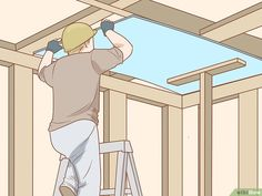 How to Install Ceiling Drywall: 12 Steps (with Pictures) - wikiHow Drywall Ceiling, Tin Ceiling Tiles, Basement Ceilings, Diy Wood Projects, Home Projects, Basement Remodel Diy, Basement Ideas, Basement Bars, Basement Renovations