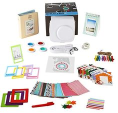 Fujifilm Instax Mini 88 WHITE Instant Film Camera Accessories Bundle 14 Piece Gift Kit Set Includes Case 2 Albums 4 Filters Selfie lens Frames Magnet Frames 60 stickers Pen Hanging Frames * Want to know more, click on the image.