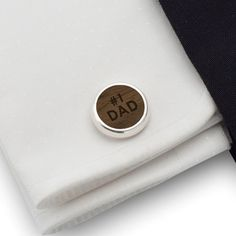 Dad cufflinks gift idea, Sterling silver American walnut Cufflinks with 1 DAD. FREE engraving great for Gift Idea, Dad, Birthday Gift, Groom, Wedding or any special occasion.
