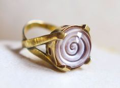 intaglio spiral crystal quartz sterling silver ring,red ring, Greek jewelry #Dome #Engagement