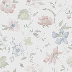 Scandinavian design wallpaper Aquarelle from collection Everyday Life by Borastapeter and Eco Wallpaper Fabric Wallpaper, Of Wallpaper, Designer Wallpaper, Floral Printables, Decoupage Paper, All Things Purple, Pattern Illustration, Vintage Roses, Cute Wallpapers