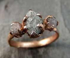 Raw Pink Diamond Rose Gold Engagement Ring Wedding by byAngeline