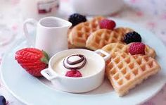 Waffles for breakfast food hearts heart breakfast strawberry eat waffles food cravings eats yummy food i love food heart waffles waffle strawbrries Cute Food, I Love Food, Yummy Food, Tasty, Yummy Yummy, Perfect Breakfast, Breakfast Time, Sweet Breakfast, Romantic Breakfast