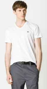 4a607e77f67bf Lacoste Short Sleeve V-Neck - White - The Blues Jean Bar, the Best Place to  Buy Jeans!