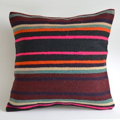 Sukan / Handwoven Vintage Turkish Striped Kilim Pillow Cover,