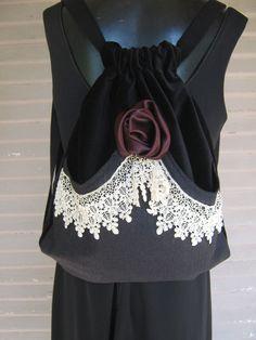 Backpack Victorian Lace and Rose Mori Girl Black Velvet Backpack Gray Wool Pocket Satin Handmade Rose Black Velvet Victorian. $54.00, via Etsy.