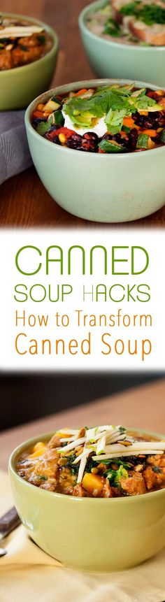 These three canned soup hacks teach you can to transform canned soup into a meal using tomato soup, butternut squash soup and mushroom soup.