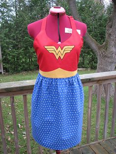 Awhile ago I saw a picture of a Wonder Woman apron and knew immediately that I wanted to make one like it for my friend's birthday.      I s...