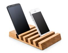 One of our favorites. Keep your desk organized with this modern, contemporary charging station for up to 5 devices including smart phones, tablets and/or ebook readers. Handmade from oak wood, it will
