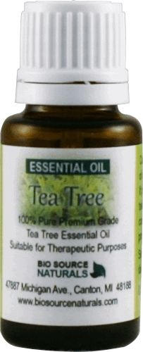 Tea Tree Pure Essential Oil  - Anticandida & Antibacterial Properties  1 fl. oz / 30 ml, $18.65.  Odor: Characteristic warm, spicy odor.  Add 2-3 drops to a bowl of hot water for a purifying steam treatment. Dilute with Sweet Almond Oil for direct skin contact. Aromatherapy for Athlete's Foot